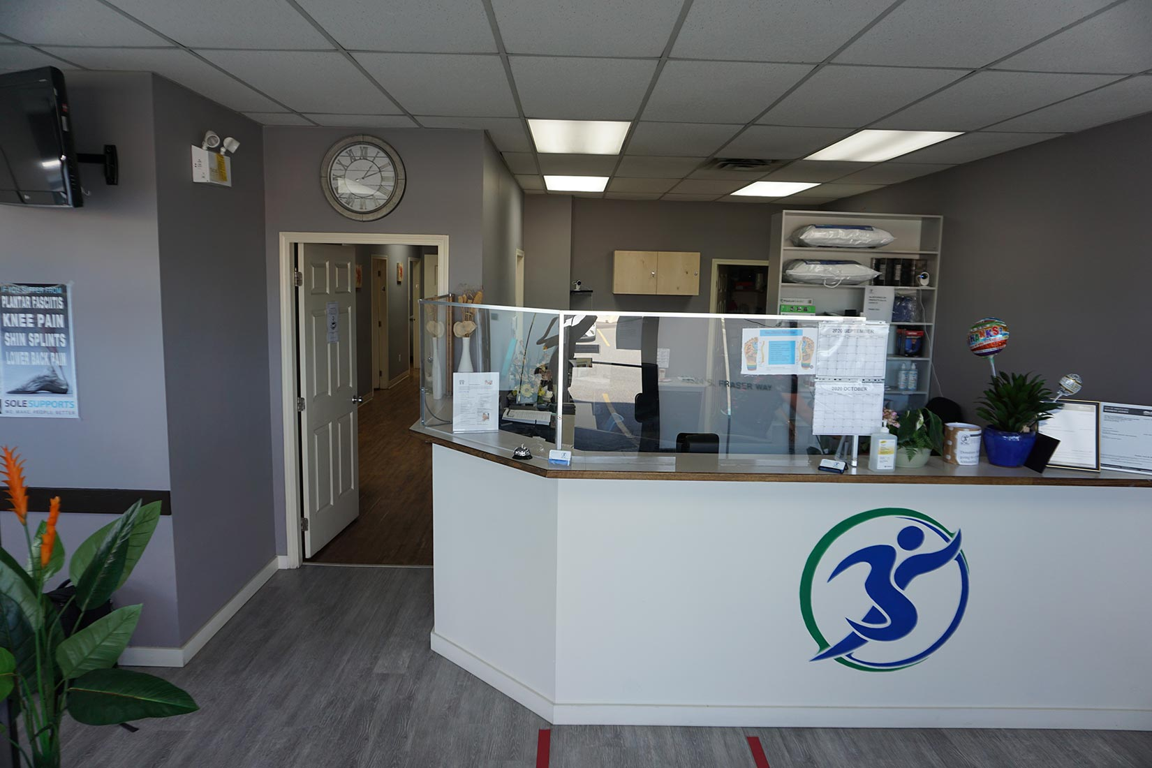 Physio clinic interior view with front desk